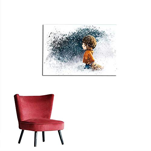 Used, homehot Wall Paper Girl Walking with Doll in The Winter for sale  Delivered anywhere in Canada