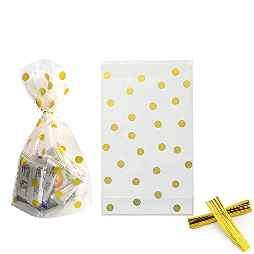 AimtoHome Clear Cello Bags 6 x 10 x 2.5inch Clear Plastic Treat Bags for Cookie Candy Snack Wrapping Party Favor, Gold Dot, Pack of 50 ()