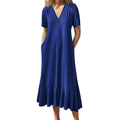 BODOAO Women's Loose Short Sleeve Long Dress V-Neck Casual Mid-Calf Summer Dress Blue
