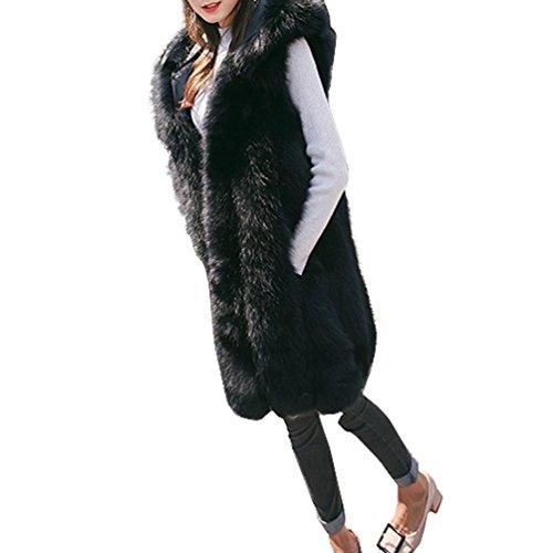 Faux Spesso Cappuccio Inverno Di Caldo Con Volpe Lungo Da Di Pelliccia Harrystore Tuta Di Cappotto Donna Sportiva Nero qtw6nXz