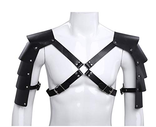 - WISDOMTOY Men's Knights Adjustable Leather Body Chest Harness Shoulder Cover Armors Buckles Belt Costumes Party Dress Up Accessories