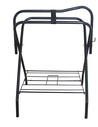 Floor Saddle Rack Stand Folding Storage Metal Black Saddle Tack Stable