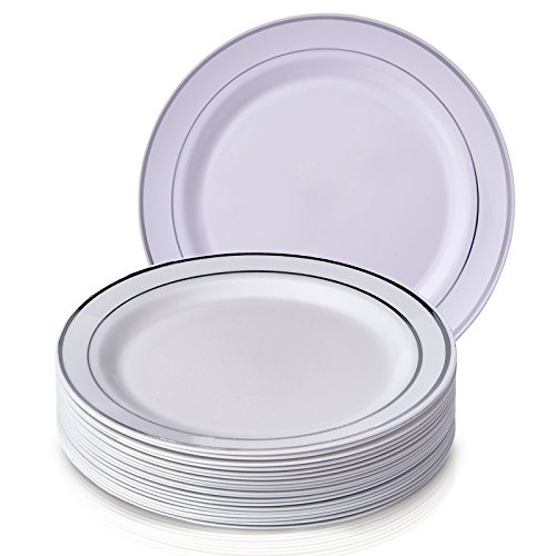 PARTY DISPOSABLE 20 PC DINNERWARE SET | 20 Dinner Plates | Heavy Duty Disposable Plastic Dishes | Elegant Fine China Look | Upscale Wedding and Dining (Silver Glare Collection | 10.25 Inch) for $<!--$15.41-->