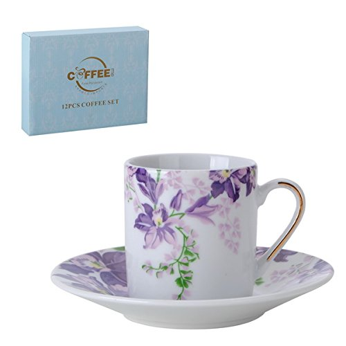 Porcelain Bone China Espresso Turkish Coffee Demitasse Set of 6 Delicate Floral Pattern Cups and Saucers (Violets)