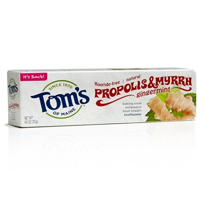 Gingermint Toothpaste - Tom's of Maine Baking Soda with Propolis and Myrrh - 4 oz - Gingermint