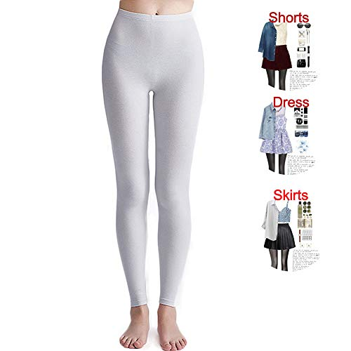 Women's Footless Tights Seamless High Waist Full Length Top Tights (White, One Size)