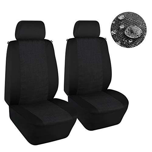 Elantrip Water Resistant Linen Cloth Front Seat Cover Universal Fit WaterproofBreathable Bucket Seat Cover Protection Airbag Compatible for Car SUV Truck, Black and Gray 2 PC