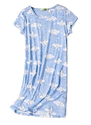 Clouds Print Cotton Nightgown - INADAYS Women's Sleepwear Cotton Sleep Tee Short Sleeves Print Sleepshirt SQ002-Cloud-M