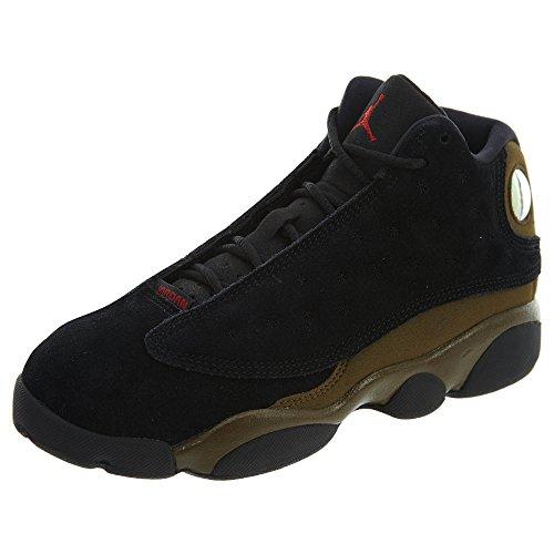 Jordan 13 Retro Little Kids' Basketball Shoes Black/Gym Red-Light Olive 414575-006 (10.5 M US)