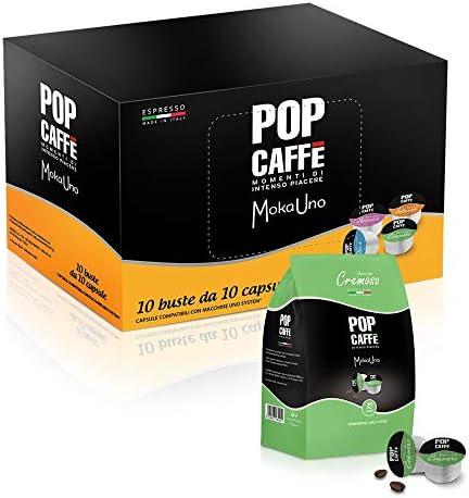 100 CAPSULE POP CAFFE' compatibile UNO SYSTEM INDESIT Miscela . 2 CREMOSA