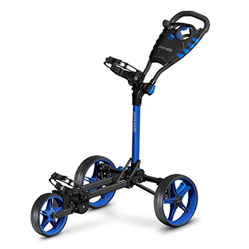 3 Wheel Golf Push Cart – Lightweight Folding Golf Walking Push Cart Roller Golf Bag Holder w/ Upper/Lower Bracket w…