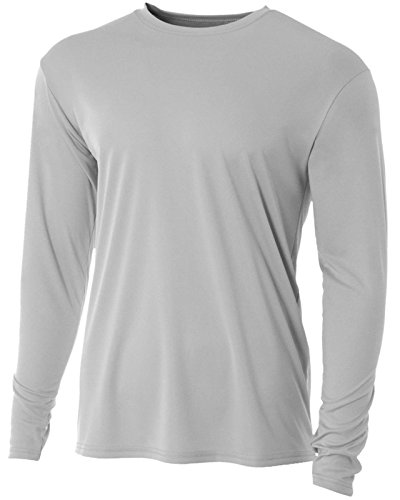 - Men's Long Sleeve Loose Fit Rash Guard Surf Shirt Water Sports Swimwear Silver