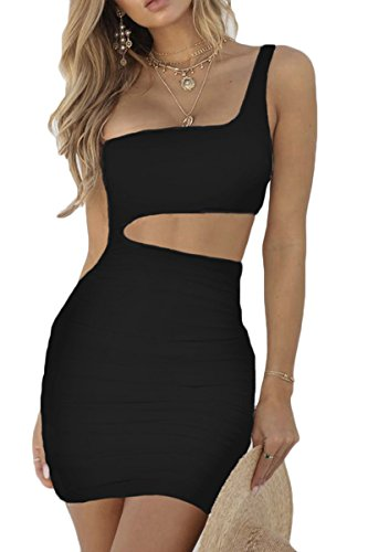 Shirred Short Dress Cocktail Dress - Jenyarn Womens Short Formal Dresses Bodycon Ruched Cut Out Party Dress Black L