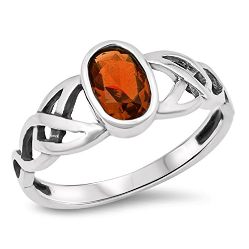 Oval Simulated Garnet Celtic Knot Ring New .925 Sterling Silver Band Size 5