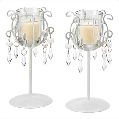 Gifts & Decor Crystal Drop Votive Stands Wrought Iron Candleholder