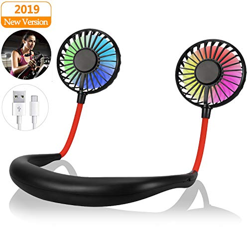 Yobenki Portable Fan Hand Free USB Fan Personal Fan with LED Light Mini Fan USB Rechargeable Desk Fan Wearable Neckband Fan 360 Degree Free Rotation Perfect for Sports, Traveling and Reading (Black)