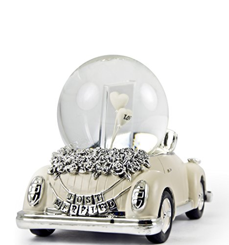 Iconic Just Married Ivory And Silver VW Beetle With Photo Frame Musical Snow Globe - Dance of the Sugar Plum Fairy (Nutcracker Suite) by MusicBoxAttic (Image #2)
