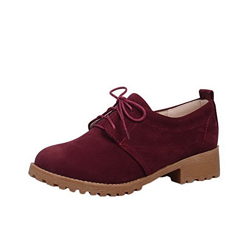 Allhqfashion Damesschoenen-hakken Frosted Solid Lace-up Ronde Neus Pumps-schoenen Claret