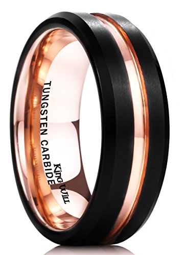 King Will DUO 7mm Mens Black Tungsten Carbide Ring Matte Finish 18K Rose Gold Plated Wedding Band Beveled Edge Comfort Fit