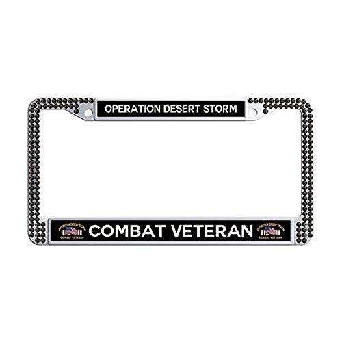 Operation Desert Storm Combat Veteran License Plate Frame,Black Rhinestones Gulf War Car Tag Holder