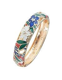 UJOY Women's Butterfly Flower Bangle Alloy Spring Hinged Cloisonne Bracelet Jewelry Box 88C10