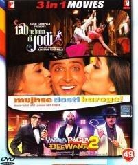 Rab Ne Bana Di Jodi / Mujhse Dosti Karoge! / Yamla Pagla Deewana 2 (Dvd Without Subtitle)