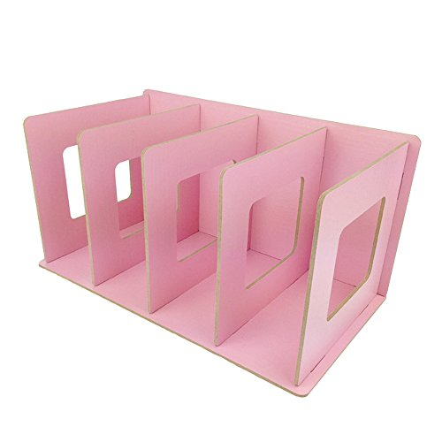 UQueen Creative Wooden DIY Desktop Magazines and Books Storage Box Sorting Bookends Office Kitchen Dish Carrying Shelves (Light Pink)
