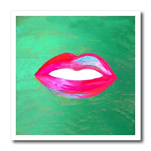3D Rose Hot Pink Red and Blue Lips On Green Mottled Background Iron On Heat Transfer 8 x 8 White