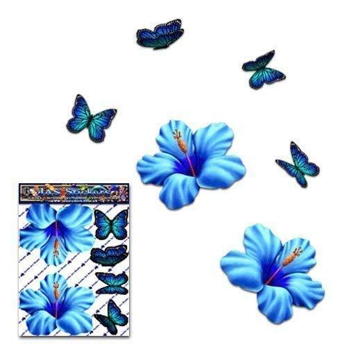 Adesivo per auto con fiore di ibisco blu + farfalla con animali piccoli - ST00023BL_SML - Adesivi JAS