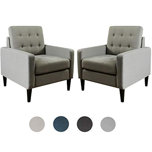 Top Space Accent Chair Living Room Chairs Arm Chair Single Sofa Upholstered Gray Comfy Fabric Mid-Century Modern Furniture for Bedroom Office (2PCS-1, Gray)