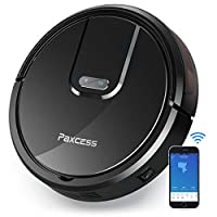 PAXCESS Robotic Vacuum Cleaner, Wi-Fi Connected with 1800Pa Powerful Suction, 120 Min Run Time, Super Quiet Self-Charging Automatic Smart Robot Vacuum, Remote & App Control, Compatible with Alexa