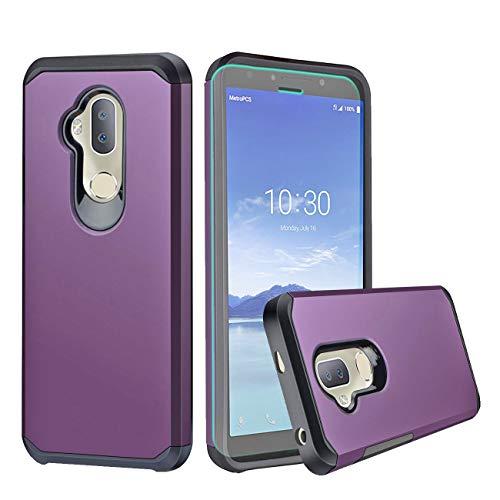 Alcatel 7 Case,Alcatel 7 Folio Case,Alcatel 7 2018/Revvl 2 Plus/7 6062W Case with HD Screen Protector,Slinco Dual Layer Shock Proof Protective Rugged Alcatel 7/Alcatel 7 Folio Phone Case (Purple)