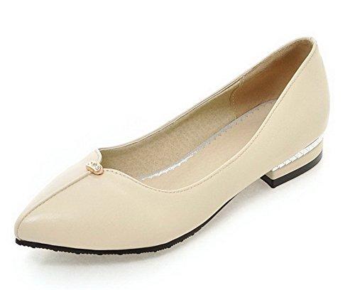 AgooLar Damen Eingelegt Ziehen auf Weiches Material Spitz Zehe Pumps Schuhe Cremefarben
