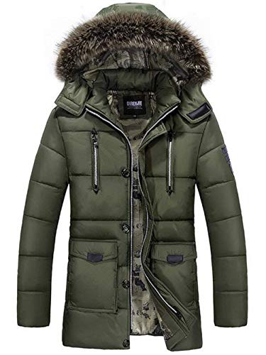 Fit Jackets Armee Down Coat Field Hooded Slim Long Coat Trench Adelina Bomber Military Jacket Pockets Sleeve Coat Outdoor Men's Hooded Front grün Long qPnAw7
