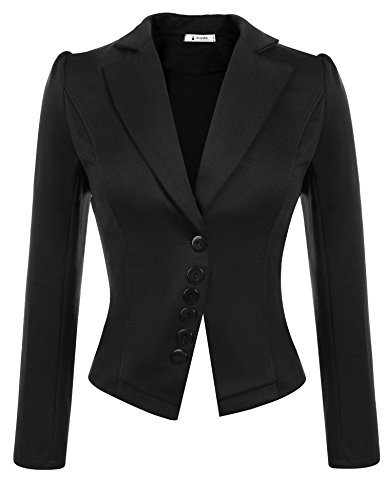 ACEVOG Women Casual Basic Work Office Blazer Button Clousure Open Front Draped Asymmetric Cardigan Jacket (Black, ()