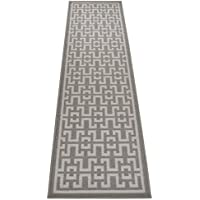 Ancient Greek Style Design Printed Slip Resistant Rubber Back Latex Runner Rug and Area Rugs (Grey, 1'11' x 7')