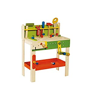 Kids Toddlers Wooden Carpenter Toy Play Workbench- 18 Months- 5 Years Of Age- This Educational Motor Skills Activity Center Allows Kids To Work Along Side Busy Adult Woodworkers- Solid Wood Safe Fun