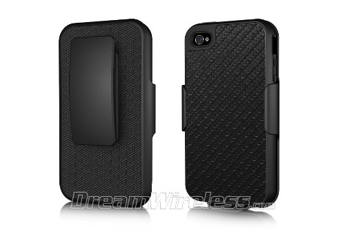 Dream Wireless Platinum Collection Shel-Tek Series Knight All-In-1 Case/Holster Combo Case for iPhone 4/4S - Retail Packaging - Black Carbon Fiber