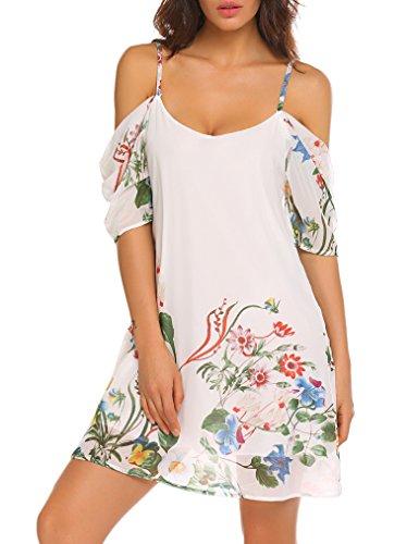 Naggoo Women's Summer Chiffon Floral Printed Cold Shoulder Loose Short Dress