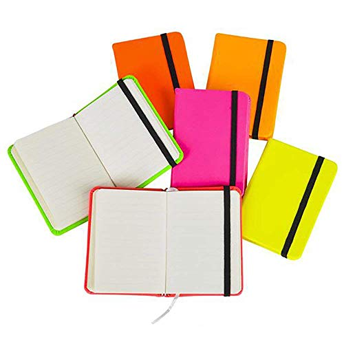 Kicko Neon Notebook - Assorted 3 Inches by 4 Inches Mini Neon Colorful Pocket Notebooks with Elastic Closure Band - Pack of 12 - School Supplies, Rewards, Journal