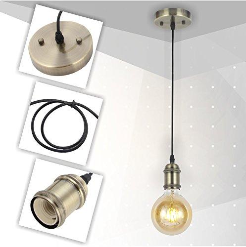 VINLUZ Industrial Pendant Lighting One-Light Mini Vintage Ceiling Lamp Kitchen Hanging Drop Lighting Fixtures Adjustable Bronze Finish (1Pack) - 1 Light Drop Pendant