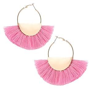 VK Accessories Semicircle Fan Shape Tassel Earrings Hoop Dangle Ear Drop Soriee Pink