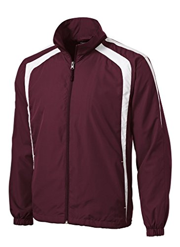 Joe's USA(tm Colorblock Full Zip Raglan Jacket-Maroon/White-3XL