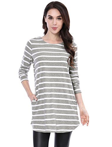 Allegra K Women's Striped Long Sleeves Pockets Loose Tunic Top S Gray