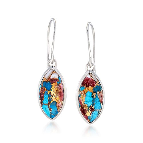 Ross-Simons Marquise Kingman Turquoise Drop Earrings in Sterling Silver