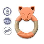 ChewChew Fox Wood & Silicone Baby Teething Ring | Organic Natural Beech Wood & 100% BPA Free Silicone Wood Teether | Teething Pain Relief Toy for Babies & Toddlers (Orange)