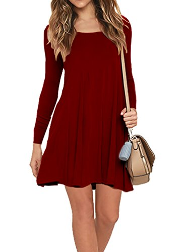 7aab31821c5 AUSELILY Women's Pockets Casual Swing T-Shirt Dresses (M, 10-Long Sleeve-Wine  Red) < Dresses < Clothing, Shoes & Jewelry - TIBS