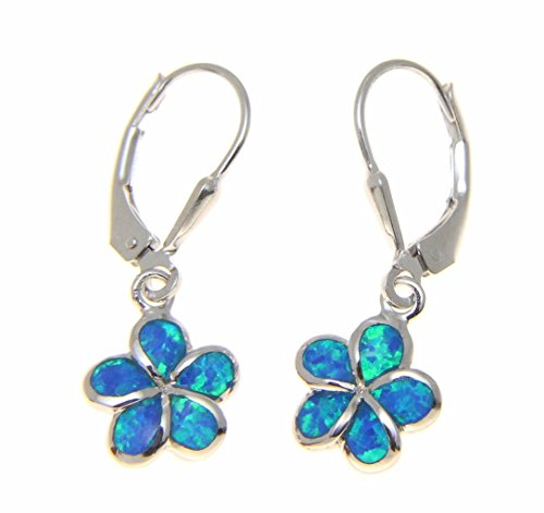 925 sterling silver inlay synthetic opal 10mm Hawaiian plumeria flower leverback earrings
