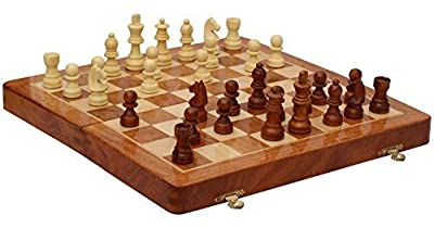 Javi Premium Quality Travel Chess Set 12 Inch Magnetic Wooden Folding Board - Portable Chess Game Handmade in Fine Wood with Storage for Chessmen with 2 Extra Queens