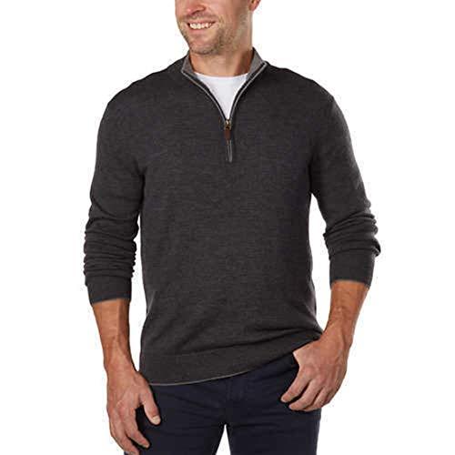 (Kirkland Signature Men's Extra Fine Merino Wool ¼ Zip Sweater (M, Gray))